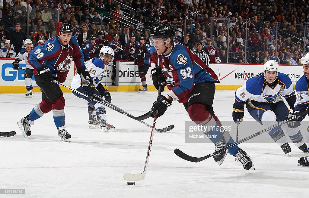 <a gi-track='captionPersonalityLinkClicked' href=/galleries/search?phrase=Gabriel+Landeskog&family=editorial&specificpeople=6590816 ng-click='$event.stopPropagation()'>Gabriel Landeskog</a> #92 of the Colorado Avalanche skates with the puck against the St Louis Blues at the Pepsi Center on April 21, 2013 in Denver, Colorado. The Avalanche defeated the Blues 5-3.