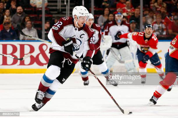 Gabriel Landeskog of the Colorado Avalanche skates with the puck against the Florida Panthers at the BBT Center on December 9 2017 in Sunrise Florida