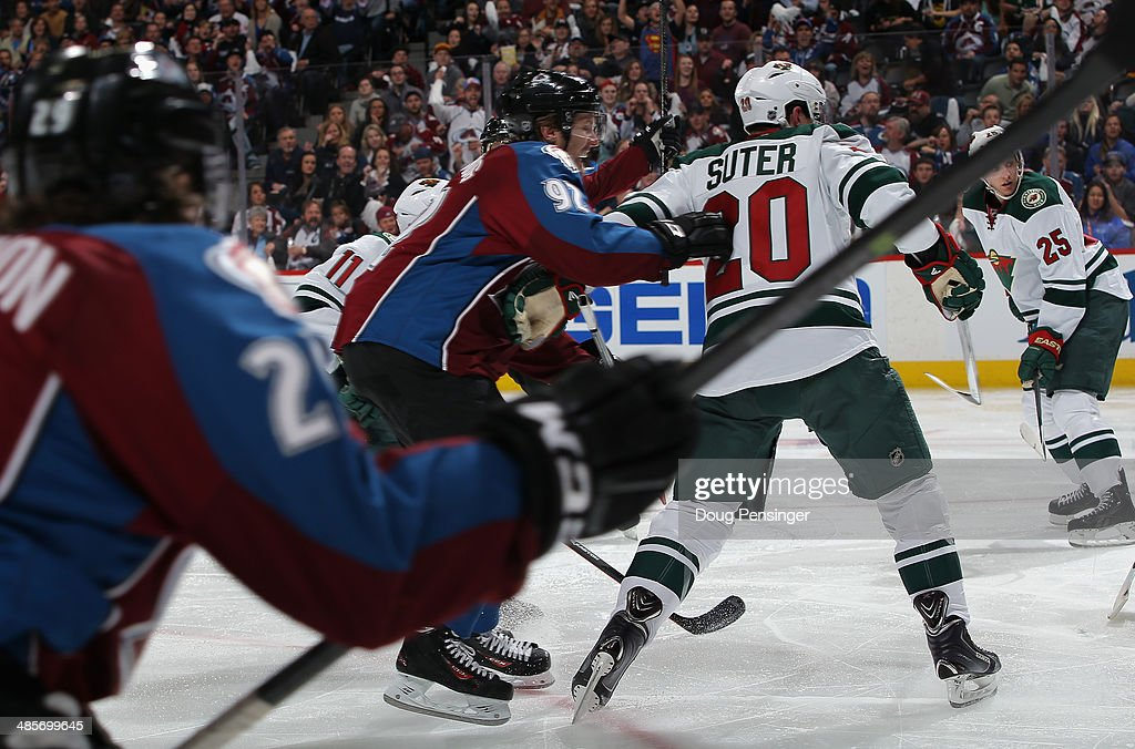 <a gi-track='captionPersonalityLinkClicked' href=/galleries/search?phrase=Gabriel+Landeskog&family=editorial&specificpeople=6590816 ng-click='$event.stopPropagation()'>Gabriel Landeskog</a> #92 of the Colorado Avalanche starts to celebrate his first goal in the second period against the Minnesota Wild Game Two of the First Round of the 2014 NHL Stanley Cup Playoffs at Pepsi Center on April 19, 2014 in Denver, Colorado. The Avalanche defeated the Wild 4-2 to take a 2-0 game lead in the series.