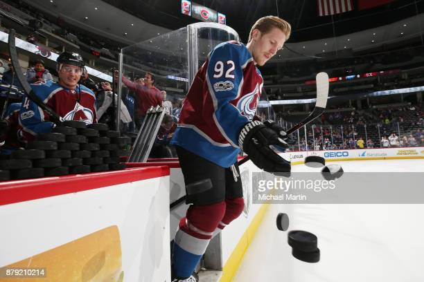 Gabriel Landeskog of the Colorado Avalanche takes to the ice prior to the game against the Calgary Flames at the Pepsi Center on November 25 2017 in...