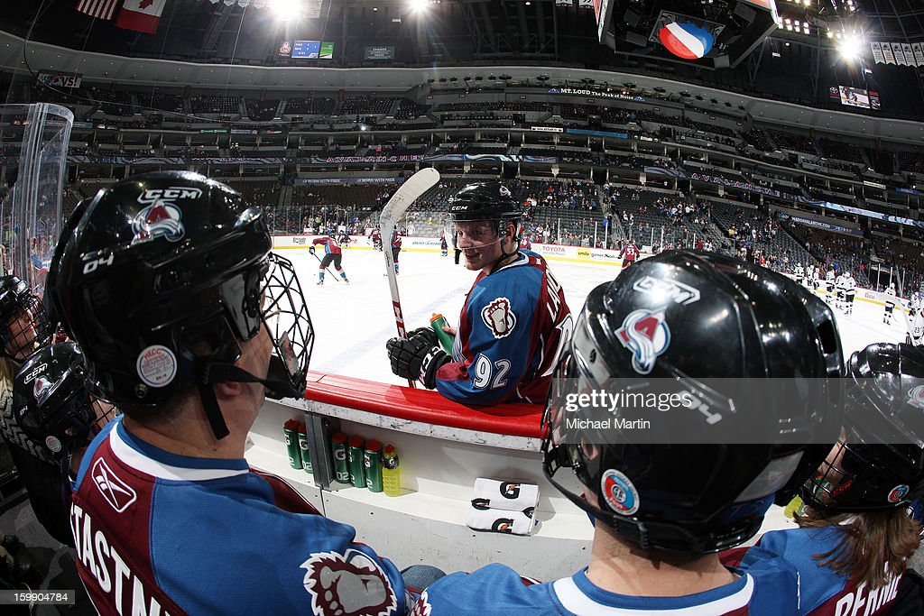 Gabriel Landeskog #92 of the Colorado Avalanche talks with fans on the bench watching the pre-game skate before the game against the Los Angeles Kings at the Pepsi Center on January 22, 2013 in Denver, Colorado.