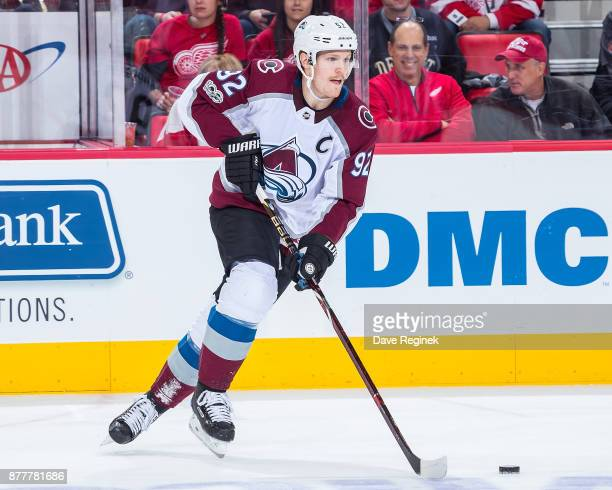 Gabriel Landeskog of the Colorado Avalanche turns up ice with the puck against the Detroit Red Wings during an NHL game at Little Caesars Arena on...