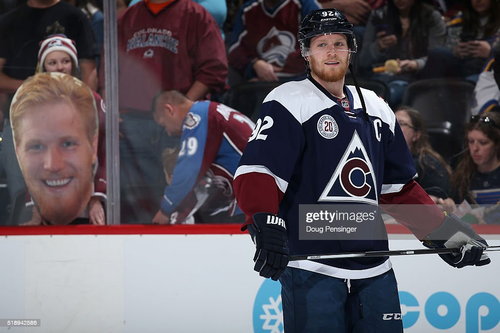 <a gi-track='captionPersonalityLinkClicked' href=/galleries/search?phrase=Gabriel+Landeskog&family=editorial&specificpeople=6590816 ng-click='$event.stopPropagation()'>Gabriel Landeskog</a> #92 of the Colorado Avalanche warms up infront of a portrait of himself displayed by a fan prior to facing the St. Louis Blues at Pepsi Center on April 3, 2016 in Denver, Colorado.