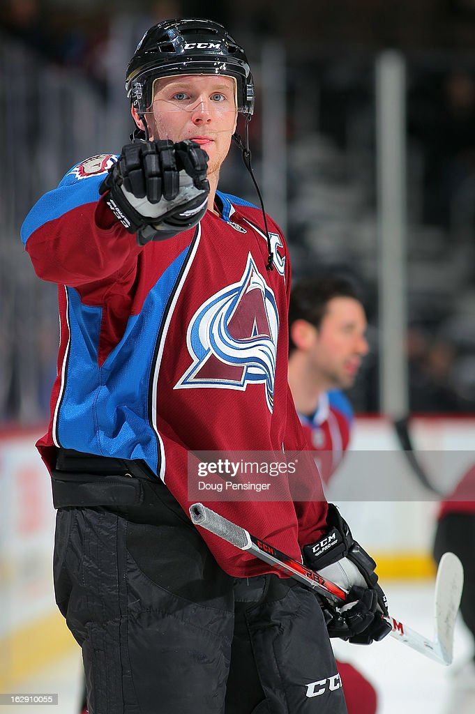 <a gi-track='captionPersonalityLinkClicked' href=/galleries/search?phrase=Gabriel+Landeskog&family=editorial&specificpeople=6590816 ng-click='$event.stopPropagation()'>Gabriel Landeskog</a> #92 of the Colorado Avalanche warms up prior to facing the Calgary Flames at the Pepsi Center on February 28, 2013 in Denver, Colorado. The Avalanche defeated the Flames 5-4.