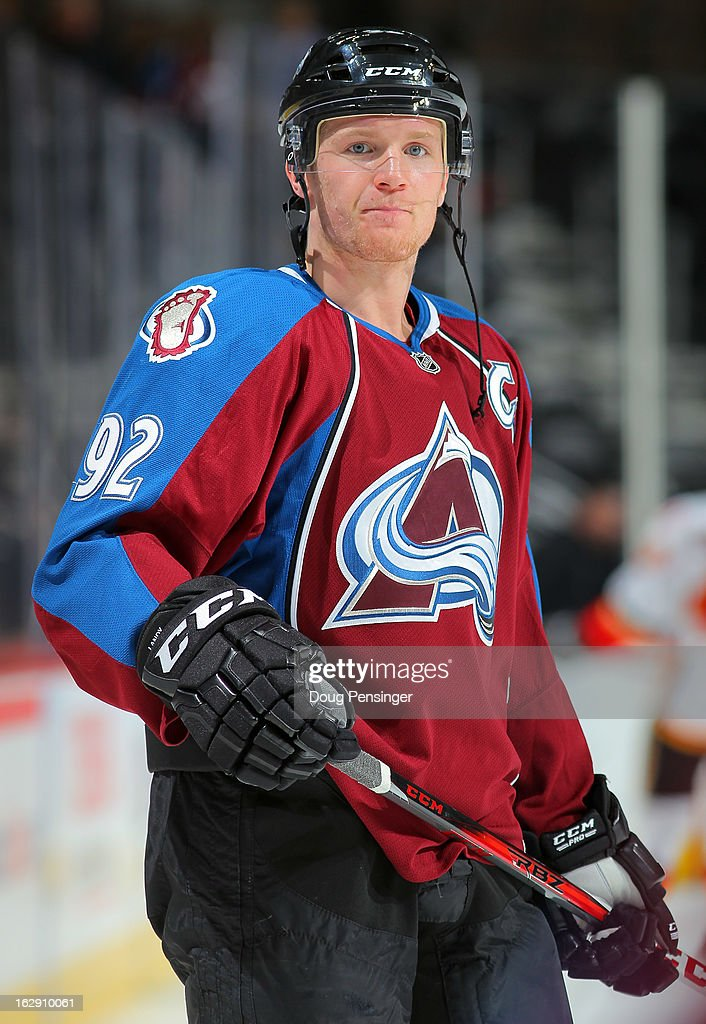 Gabriel Landeskog #92 of the Colorado Avalanche warms up prior to facing the Calgary Flames at the Pepsi Center on February 28, 2013 in Denver, Colorado. The Avalanche defeated the Flames 5-4.