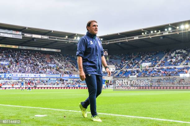 Gabriel Macaya assistant coach of Marcelo Bielsa during the Ligue 1 match between Racing Club Strasbourg and Lille OSC at Stade de la Meinau on...