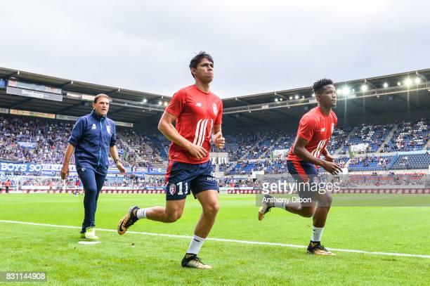 Gabriel Macaya assistant coach of Marcelo Bielsa Luiz De Araujo and Thiago Mendes Ribeiro of Lille during the Ligue 1 match between Racing Club...