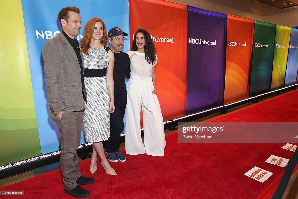 Gabriel Macht, Sarah Rafferty, Rick Hoffman and Meghan Markle attend the NBC's 2015 New York Summer Press Day at Four Seasons Hotel New York on June 24, 2015 in New York City.