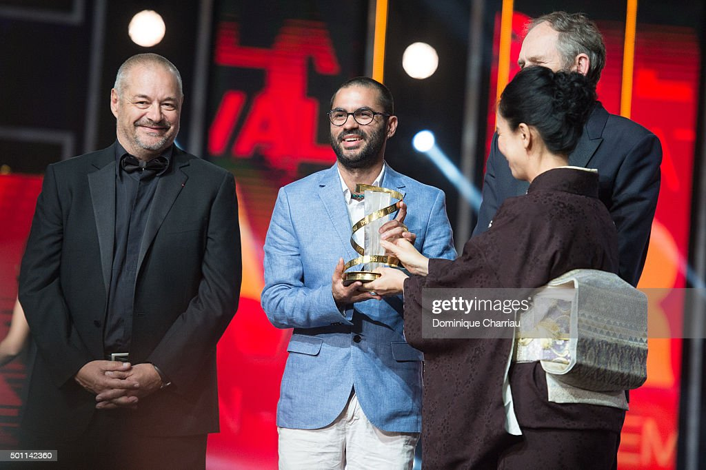 Gabriel Mascaro awarded best directing prize by the hand of Naomi Kawaze during the ceromony award of the 15th Marrakech International Film Festival...