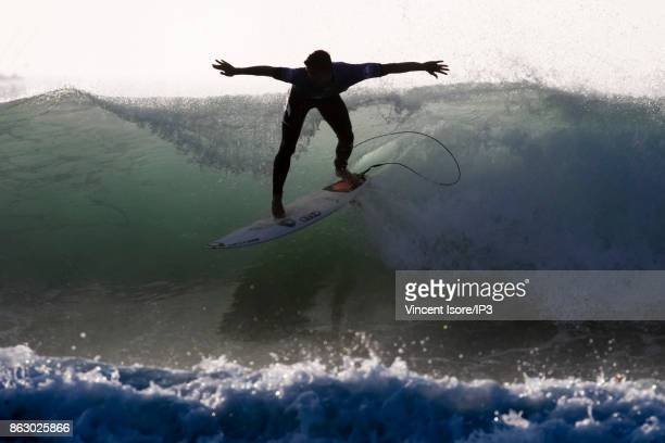 Gabriel Medina from Brazil performs during the Quicksilver Pro France surf competition on October 14 2017 in Hossegor France The French stage of the...