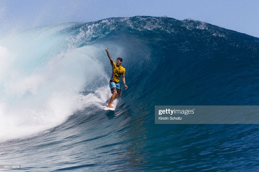<a gi-track='captionPersonalityLinkClicked' href=/galleries/search?phrase=Gabriel+Medina+-+Surfer&family=editorial&specificpeople=13702660 ng-click='$event.stopPropagation()'>Gabriel Medina</a> of Brasil claims his wave during Round 3 of Billabong Pro Tahiti on August 24, 2014 in Teahupo'o, French Polynesia.