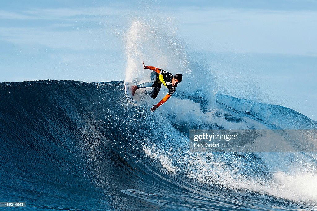 <a gi-track='captionPersonalityLinkClicked' href=/galleries/search?phrase=Gabriel+Medina+-+Surfer&family=editorial&specificpeople=13702660 ng-click='$event.stopPropagation()'>Gabriel Medina</a> of Brasil placed equal 9th in the Ripcurl Pro Bells Beach after placing second in his quarterfinal heat on April 23, 2014 in Bells Beach, Australia.
