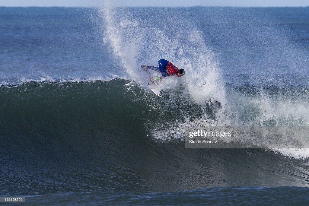 Gabriel Medina of Brasil surfs during round three of the Rip Curl Pro on April 1, 2013 in Bells Beach, Australia.