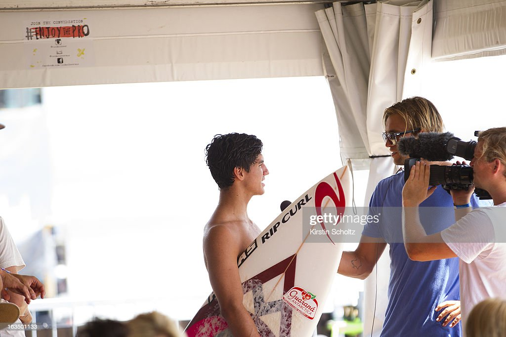 Gabriel Medina of Brazil is interviewed on the surfers deck during the Quiksilver Pro on March 11, 2013 in Gold Coast, Australia.