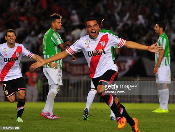 Gabriel Mercado celebrates after scorng the first goal of River Plate during a second leg final match between River Plate and Atletico Nacional as...