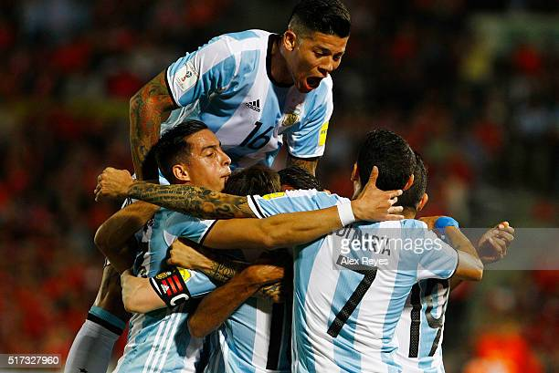 Gabriel Mercado of Argentina celebrates with his teammates after scoring the second goal during a match between Chile and Argentina as part of FIFA...