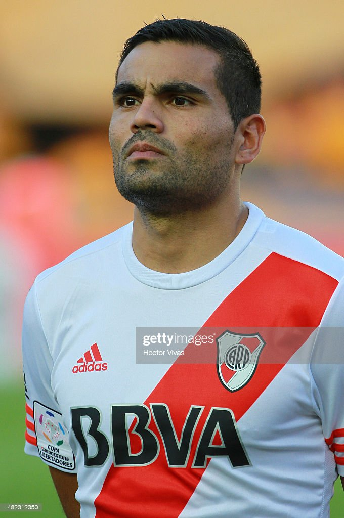 <a gi-track='captionPersonalityLinkClicked' href=/galleries/search?phrase=Gabriel+Mercado&family=editorial&specificpeople=4110696 ng-click='$event.stopPropagation()'>Gabriel Mercado</a> of River Plate before a first leg final match between Tigres UANL and River Plate as part of Copa Bridgestone Libertadores 2015 at Universitario Stadium on July 29, 2015 in Monterrey, Mexico.