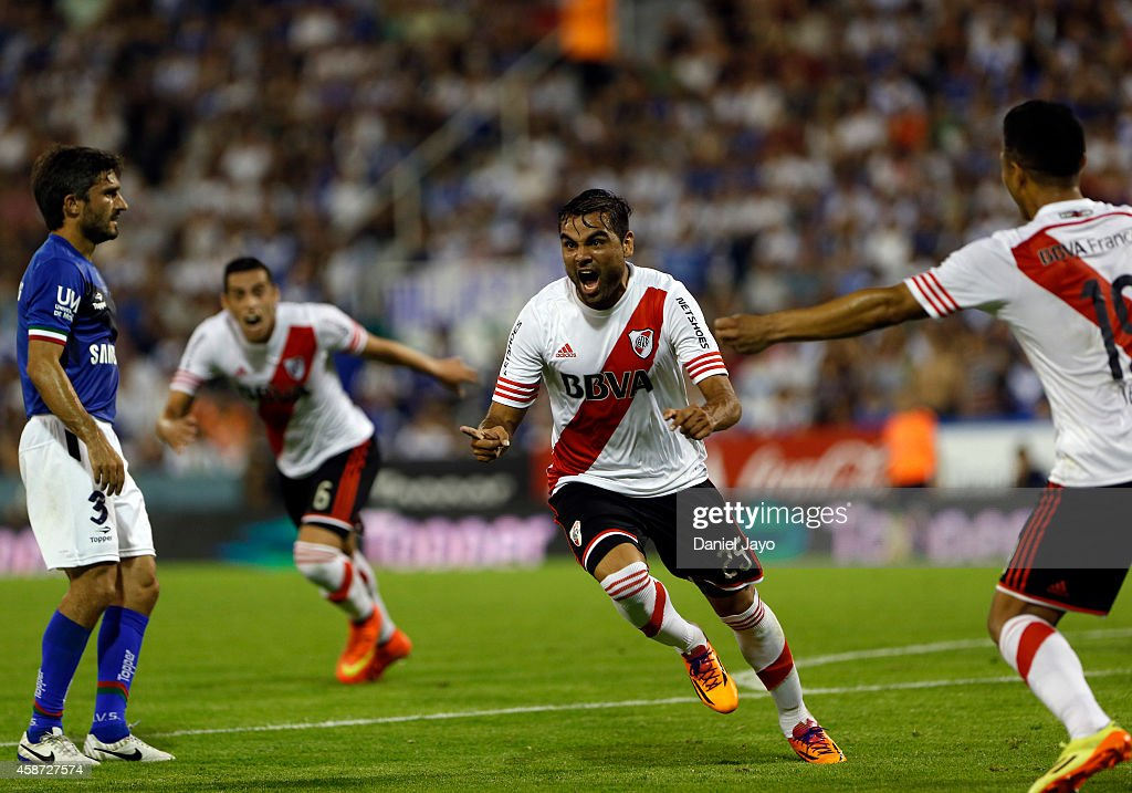 Gabriel Mercado, of River Plate, (C) celebrates after scoring during a match between Velez Sarsfield and River Plate as part of 15th round of Torneo de Transicion 2014 at Jose Amalfitani Stadium on November 9, 2014 in Buenos Aires, Argentina.