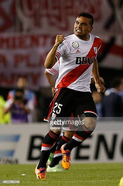 Gabriel Mercado of River Plate celebrates after scoring the first goal of his team during a second leg final match between River Plate and Atletico...