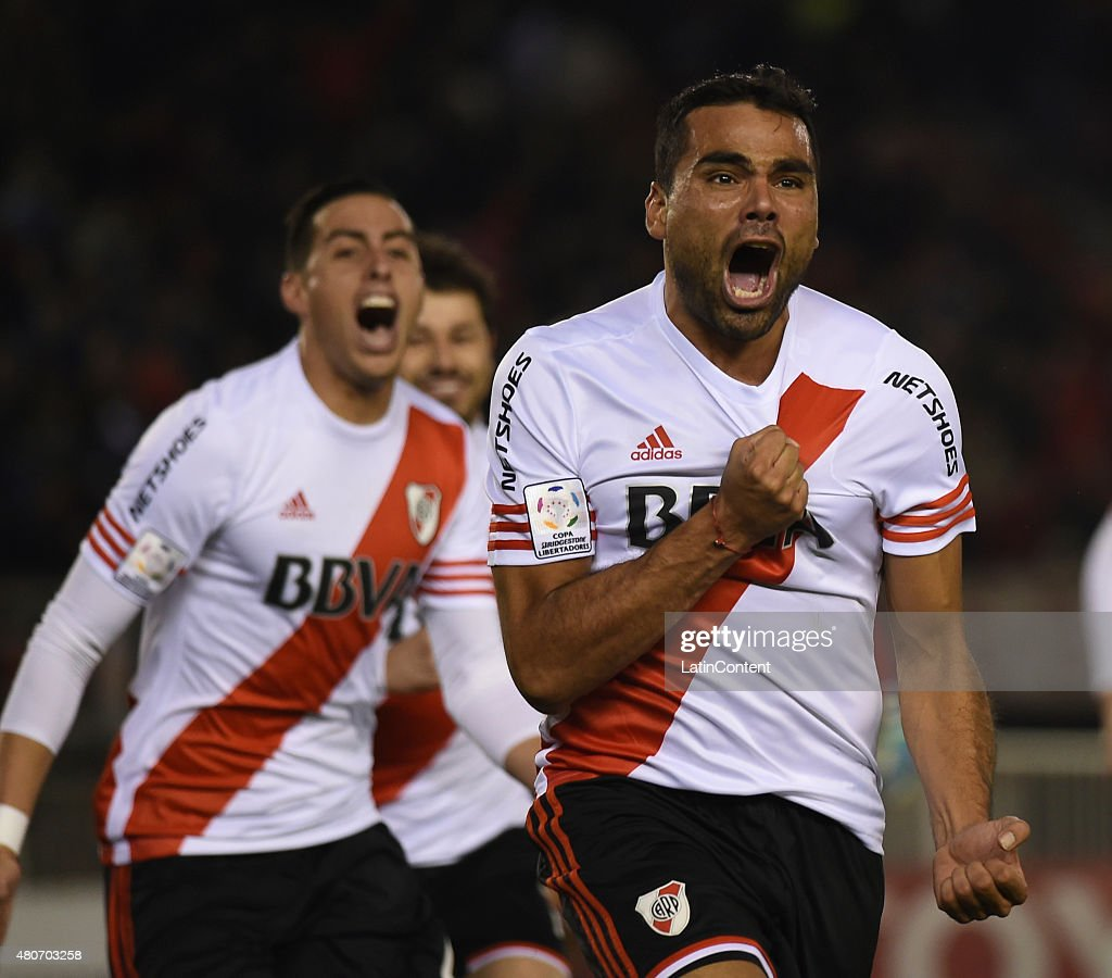 <a gi-track='captionPersonalityLinkClicked' href=/galleries/search?phrase=Gabriel+Mercado&family=editorial&specificpeople=4110696 ng-click='$event.stopPropagation()'>Gabriel Mercado</a> of River Plate celebrates after scoring the opening goal during a first leg Semi Final match between River Plate and Guarani as part of Copa Bridgestone Libertadores 2015 at Antonio Vespucio Liberti Stadium on July 14, 2015 in Buenos Aires, Argentina.