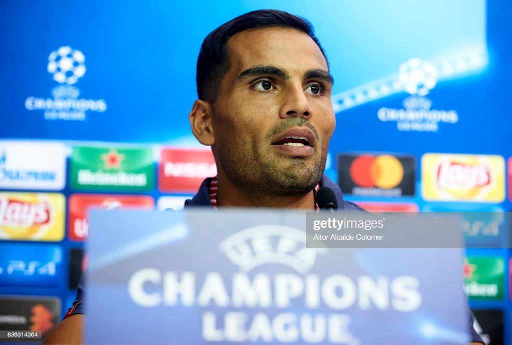 Gabriel Mercado of Sevilla FC attends the press conference prior to their UEFA Champions League match against Istambul Basaksheir at the Sevilla FC training ground on August 21, 2017 in Seville, Spain.