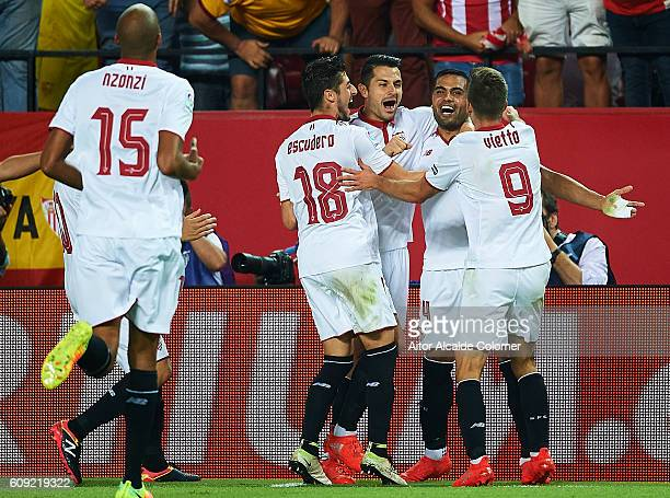 Gabriel Mercado of Sevilla FC celebrates after scoring during the match between Sevilla FC vs Real Betis Balompie as part of La Liga at Estadio Ramon...