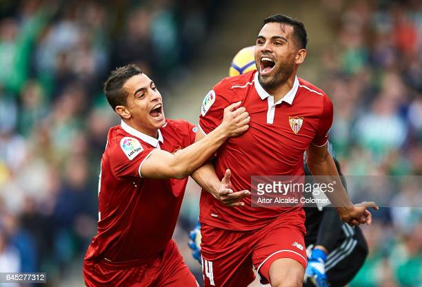 Gabriel Mercado of Sevilla FC celebrates after scoring the first goal for Sevilla FC with his team mate Wissam Ben Yedder of Sevilla FC during La...