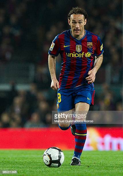 Gabriel Milito of FC Barcelona in action during the La Liga match between Barcelona and Osasuna at the Camp Nou Stadium on March 24 2010 in Barcelona...