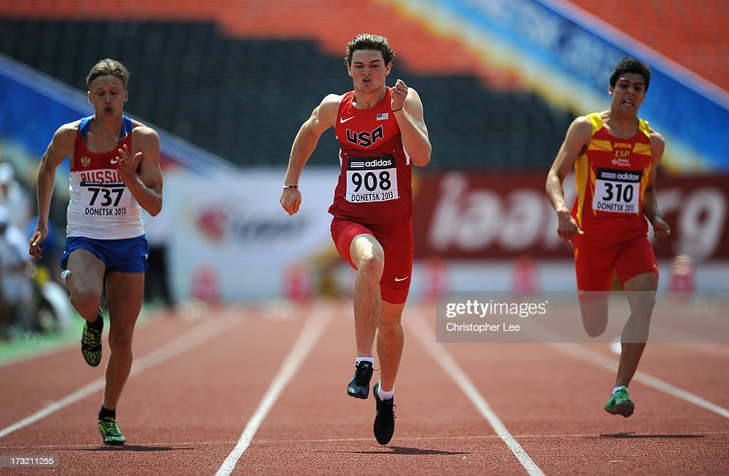 Gabriel Moore of USA (C) competes in the 100m of the Boys Octathlon with Andrey Fomichev of Russia (L) and Carlos Sanchez of Spain during Day 1 of the IAAF World Youth Championships at the RSC Olimpiyskiy Stadium on July 10, 2013 in Donetsk, Ukraine.