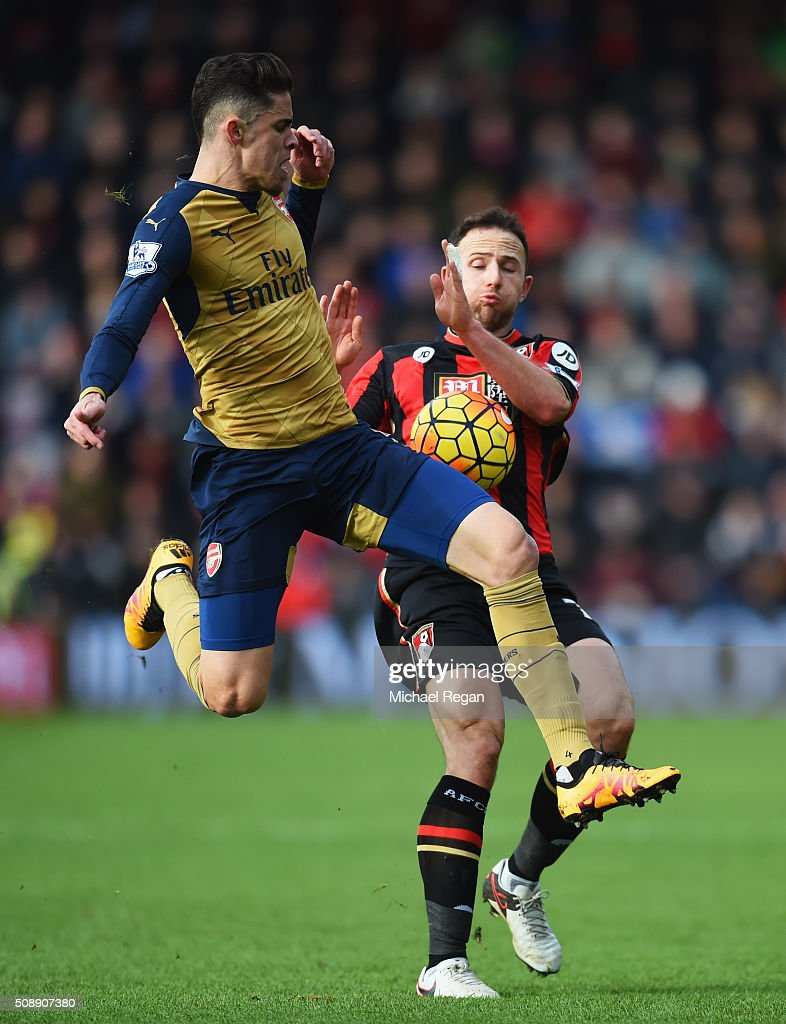 Gabriel of Arsenal challenges Marc Pugh of Bournemouth during the Barclays Premier League match between A.F.C. Bournemouth and Arsenal at the Vitality Stadium on February 7, 2016 in Bournemouth, England.