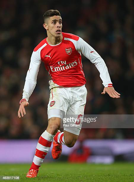 Gabriel of Arsenal in action during the FA Cup Fifth Round match between Arsenal and Middlesbrough at Emirates Stadium on February 15 2015 in London...