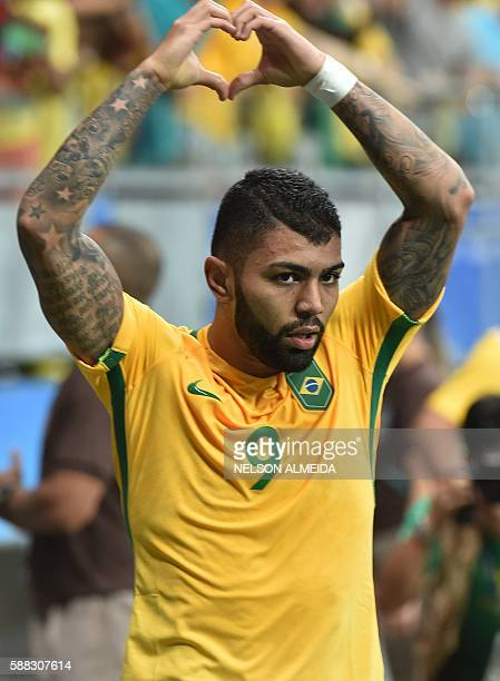 Gabriel of Brazil celebrates his goal against Denmark during the Rio 2016 Olympic Games mens first round Group A football match Brazil vs Denmark at...