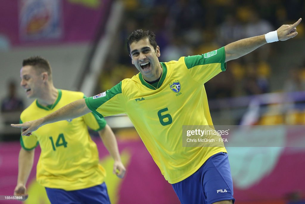 Gabriel #6 of Brazil celebrates scoring a goal against Libya during the FIFA Futsal World Cup, Group C match between Brazil and Libya at Korat Chatchai Hall on November 4, 2012 in Nakhon Ratchasima, Thailand.