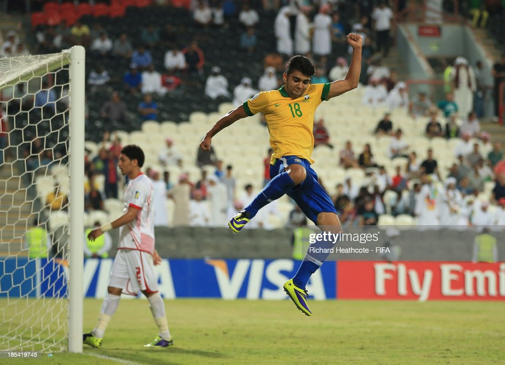 Gabriel of Brazil celebrates scoring the sixth goal during the FIFA U-17 World Cup UAE 2013 Group A match between United Arab Emirates and Brazil at the Mohamed Bin Zayed Stadium on October 20, 2013 in Abu Dhabi, United Arab Emirates.
