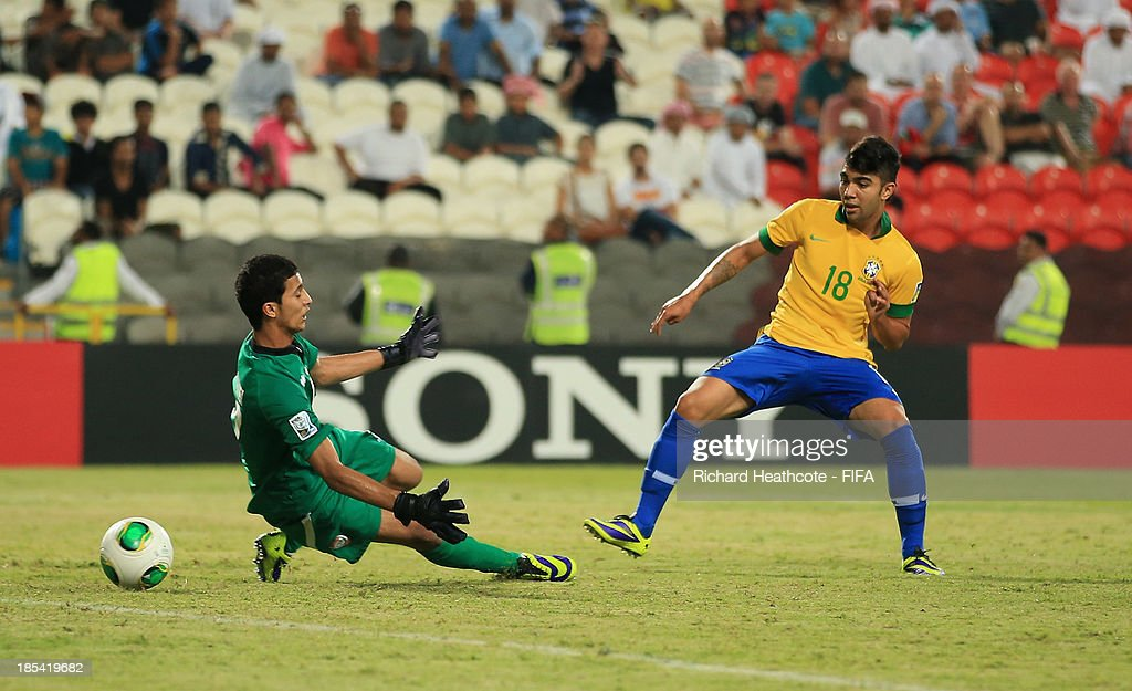 Gabriel of Brazil scores the sixth goal during the FIFA U-17 World Cup UAE 2013 Group A match between United Arab Emirates and Brazil at the Mohamed Bin Zayed Stadium on October 20, 2013 in Abu Dhabi, United Arab Emirates.