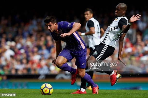 Gabriel of CD Leganes competes for the ball with Kondogbia of Valencia CF during the La Liga match between Valencia CF and CD Leganes at Mestalla...