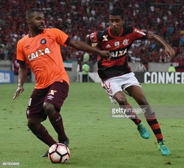 Gabriel of Flamengo in action against Deivid of Atletico Paranaense during a match between Flamengo and Atletico Paranaense as part of Copa...