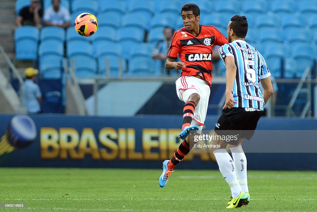 Gabriel of Flamengo runs for the ball during the match between Gremio and Flamengo for the Brazilian Series A 2013 at Arena Gremio Stadium on November 17, 2013, in Porto Alegre, Brazil.