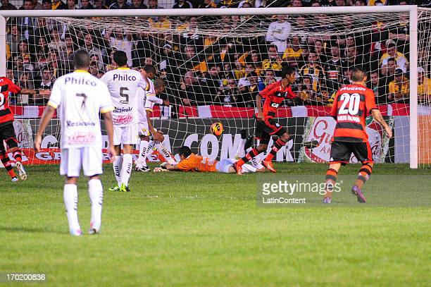 Gabriel of Flamento celebrates a scored goal during the match between Flamengo and Criciúma for the Brazilian Serie A 2013 on June 08 2013 in...