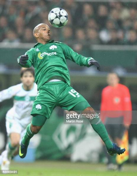 Gabriel of Panathinaikos heads the ball during the UEFA Champions League Group B match between Werder Bremen and Panathinaikos Athens at the Weser...