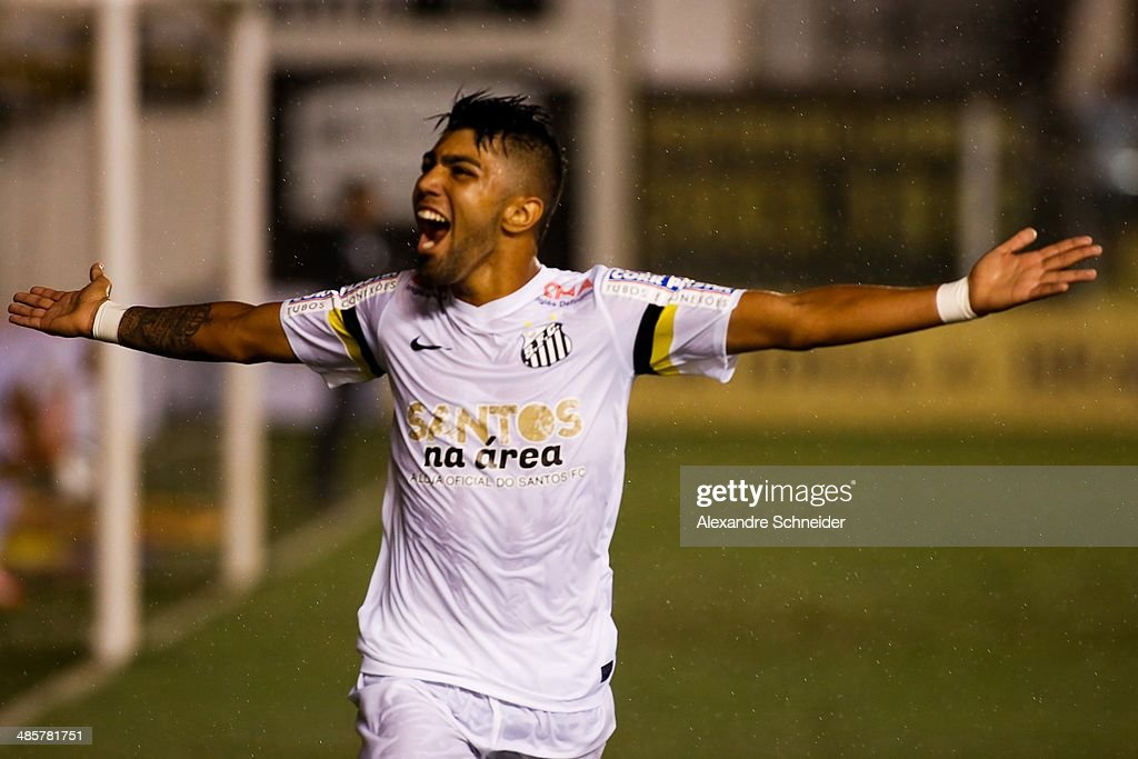 Gabriel of Santos celebrate their first goal during the match between Santos and Sport Recife for the Brazilian Series A 2014 at Vila Belmiro stadium...