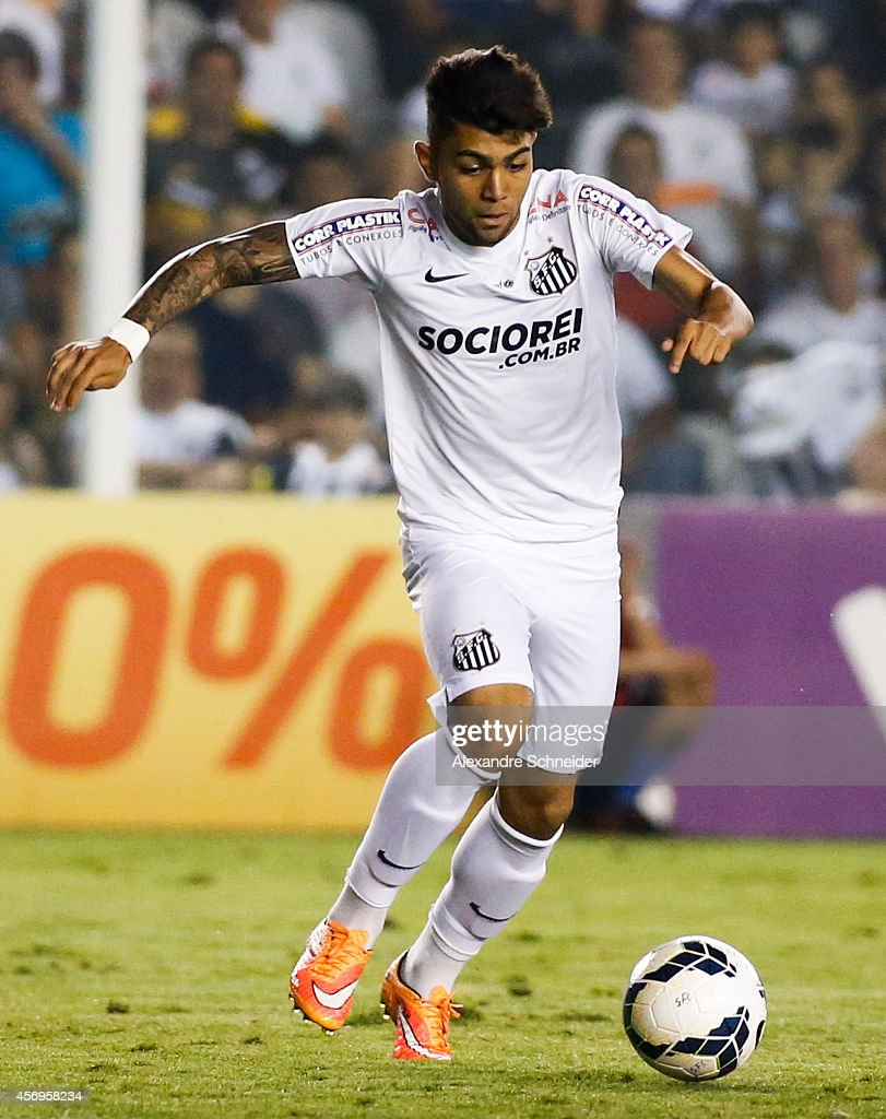 Gabriel of Santos in action during the match between Santos and Bahia for the Brazilian Series A 2014 at Vila Belmiro stadium on October 9 2014 in...