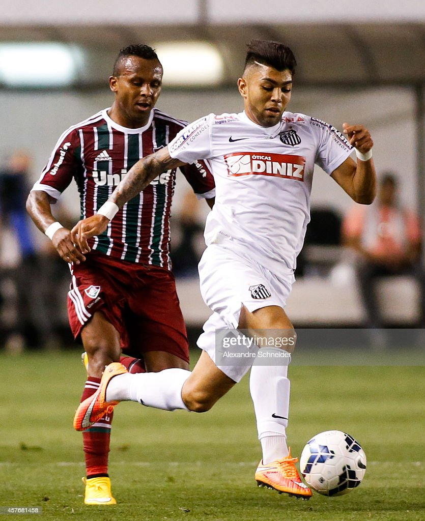 Gabriel of Santos in action during the match between Santos and Fluminense for the Brazilian Series A 2014 at Vila Belmiro stadium on October 22 2014...