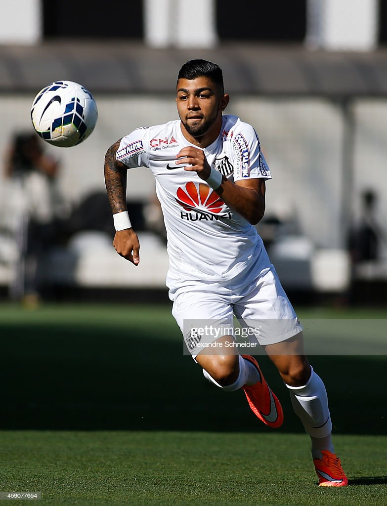 Gabriel of Santos in action during the match between Santos and Cruzeiro for the Brazilian Series A 2014 at Vila Belmiro stadium on November 16 2014...