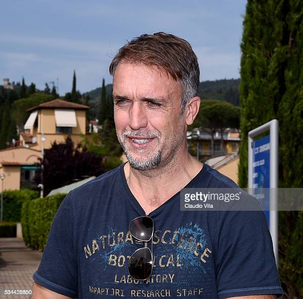 Gabriel Omar Batistuta attends the Italy training session at the club's training ground at Coverciano on May 26 2016 in Florence Italy