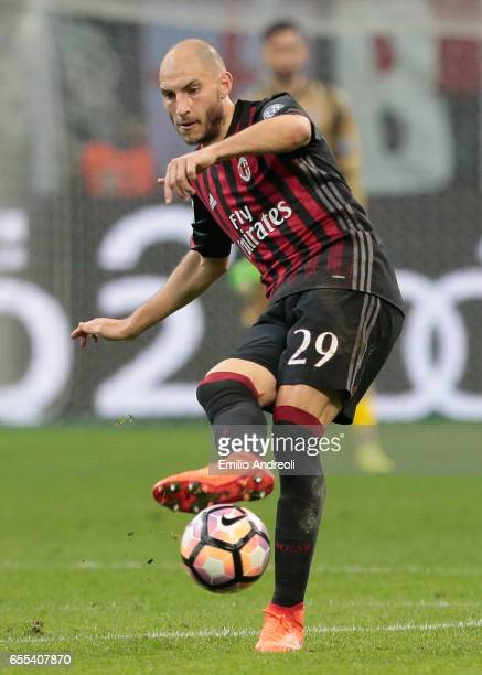 Gabriel Paletta of AC Milan in action during the Serie A match between AC Milan and Genoa CFC at Stadio Giuseppe Meazza on March 18 2017 in Milan...