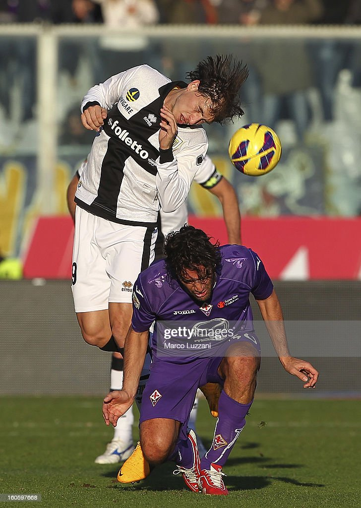 <a gi-track='captionPersonalityLinkClicked' href=/galleries/search?phrase=Gabriel+Paletta&family=editorial&specificpeople=747556 ng-click='$event.stopPropagation()'>Gabriel Paletta</a> of Parma FC competes for the ball with <a gi-track='captionPersonalityLinkClicked' href=/galleries/search?phrase=Luca+Toni&family=editorial&specificpeople=453307 ng-click='$event.stopPropagation()'>Luca Toni</a> of ACF Fiorentina during the Serie A match between ACF Fiorentina and Parma FC at Stadio Artemio Franchi on February 3, 2013 in Florence, Italy.