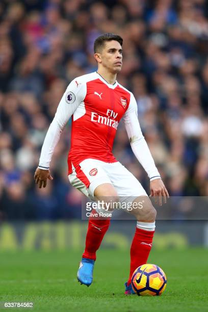 Gabriel Paulista of Arsenal in action during the Premier League match between Chelsea and Arsenal at Stamford Bridge on February 4 2017 in London...