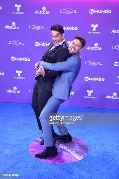 Gabriel Porras and David Chocarro arrives at Telemundo's 2017 'Premios Tu Mundo' at American Airlines Arena on August 24 2017 in Miami Florida