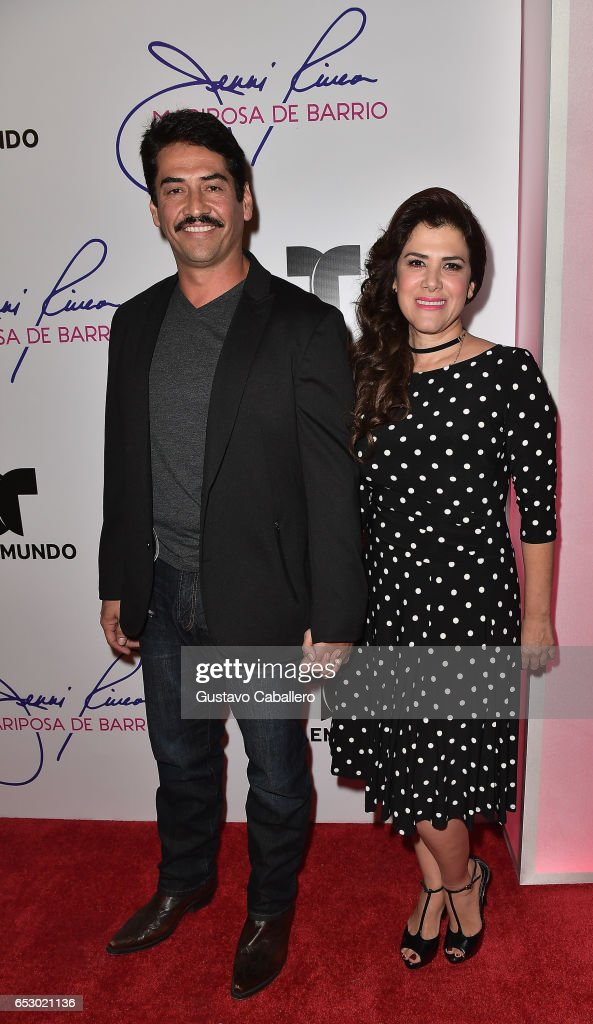 Gabriel Porras and Rosalinda Rodriguez are seen at the introduction of the cast of 'Jenni Rivera: Mariposa de Barrio' at Telemundo Studios on March 13, 2017 in Miami, Florida.